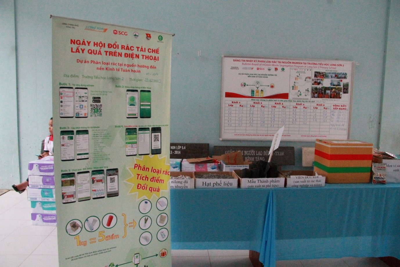 Ảnh 5: Ảnh trưng bày mô hình tái chế và nền kinh tế tuần hoàn có ảnh bảng tin mGreen phía sau
